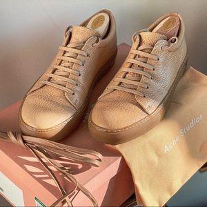 Acne Studios Adrian Grain Sneakers in Cream
